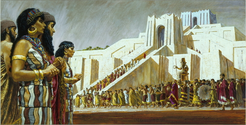 Painting of Sumerian people bringing a gilded statue to their temple.