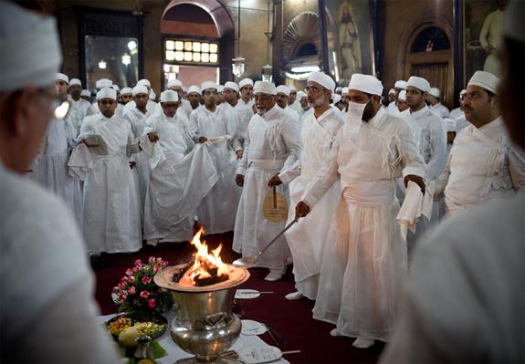 Fire Temple Zoroastrian Jashn Ceremony Mumbai India.jpg